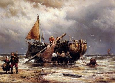 Koekkoek Johannes Ship on the beach Sun