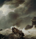 Koekkoek Johannes H Shipwrecked men in fierce storm Sun