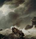 Koekkoek Johannes H Shipwrecked men in fierce storm Sun