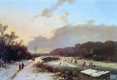 Koekkoek Marinus A Winter Nether Rijn Sun