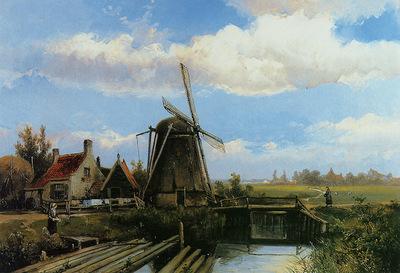 Koekkoek Willem Mill in summer polderlandscape Sun