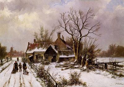 Koekkoek Willem Winterlandscape with farm Sun