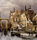 Koekkoek Willem Winter city view 1 Sun