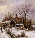 Koekkoek Willem Winterlandscape with farm Sun