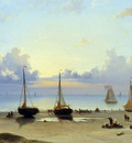 Koster Everhardus Ships and fishermen on the beach Sun