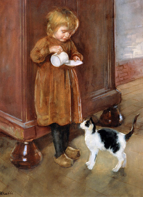 Krabbe Heinrich A saucer milk for the cat Sun