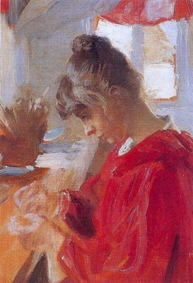 kroyer peder severin marie en vestido rojo