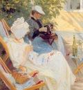 kroyer peder severin marie y su madre en el jardin