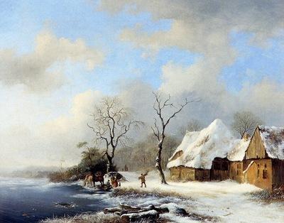 Kruseman Frederik Marinus Winterlandscape Sun