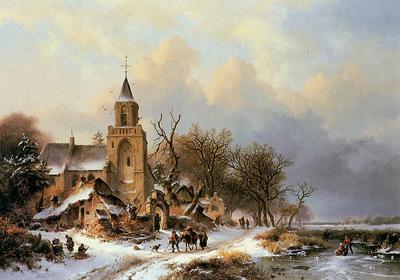 Kruseman Frederik Winter landscape Sun