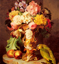Kuss Ferdinand A Still Life With A Vase Of Assorted Flowers Peaches And A Parrot On A Marble Ledg