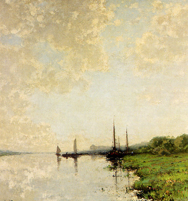 Kuypers Cornelis A Summer Landscape With Boats On A Waterway
