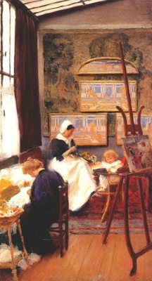 macmonnies dans la nursery painting atelier at giverny 1897