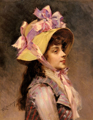 Garreta Raimundo De Madrazo portrait Of A Lady In Pink Ribbons