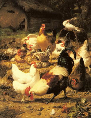Maes Eugene Remy Poultry In A Farmyard