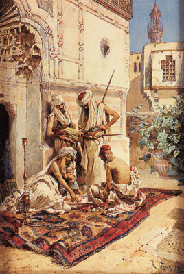Maignon Ramon Tusquets Y Four Arabs Playing A Game Of Chance