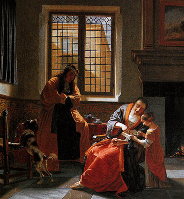 Man de C woman reading a letter with her husband and child S