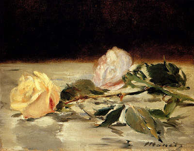 Manet Edouard Two Roses On A Tablecloth