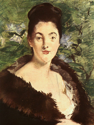 Manet Lady with a Fur, approx  1880, pastel on canvas, Art H