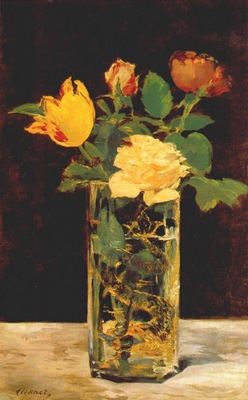 manet roses and tulip in glass vase c1882