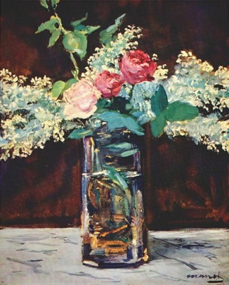 manet roses and white lilacs in vase 1882