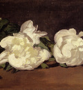 Manet Edouard Branch Of White Peonies With Pruning Shears