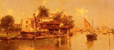 Maria de Reyna Antonio A Boathouse In Venice