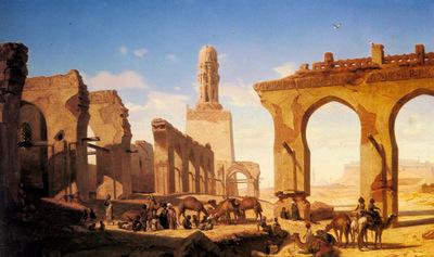 Marilhat Prosper Georges Antoine Ruines De La Mosquee Du Calife Hakem Au Caire