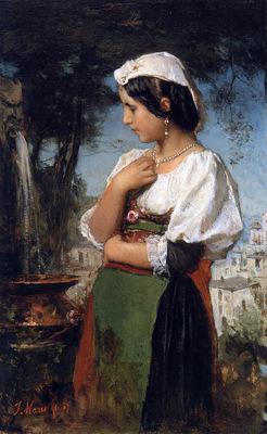Maris Jacobus Italian girl at a fountain Sun