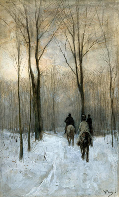 Mauve Anton Horsemen in the snow Sun