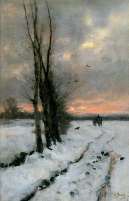 Mauve Anton Winterlandscape at sunset Sun