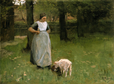 Mauve Anton Woman and her goat Sun