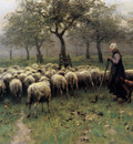 Mauve Anton Herd of sheep and herdswoman Sun