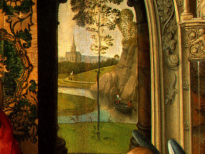 MEMLING MADONNA AND CHILD WITH ANGELS,DETALJ 3, NGW