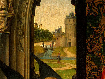 MEMLING MADONNA AND CHILD WITH ANGELS,DETALJ 4, NGW