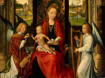 MEMLING MADONNA AND CHILD WITH ANGELS,DETALJ 5, NGW