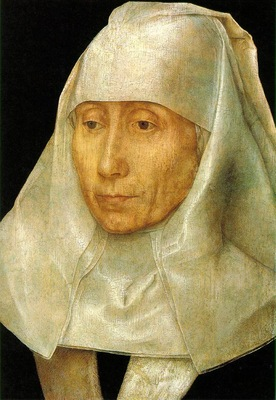 Memling Portrait of an Old Woman, 1468 1470, 25 6x17 7 cm