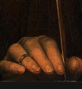 memling portrait of a man with an arrow, c  1470 1475, det