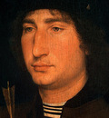 MEMLING PORTRAIT OF A MAN WITH AN ARROW, C  1470 1475, DETAL