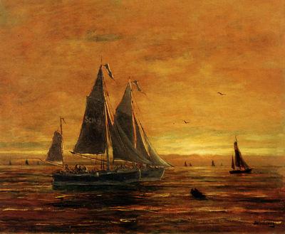 Mesdag Hendrik Willem Boats At Dusk Sun
