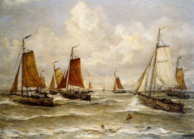 Mesdag Hendrik Willem Fishing Fleet At Scheveningen Sun