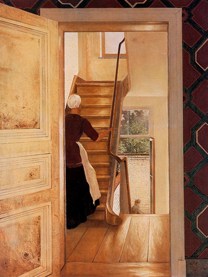Mesdag Hendrik Willem Interior With Staircase Sun
