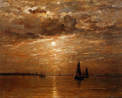 Mesdag Hendrik Willem Moon over sea Sun
