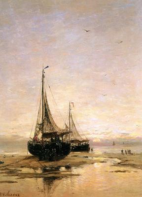 Mesdag Hendrik Willem Pinks On The Beach Sun