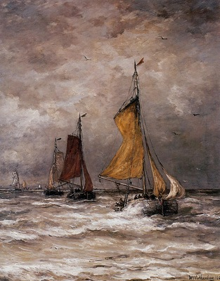 Mesdag Hendrik Willem Return fishing ships Sun