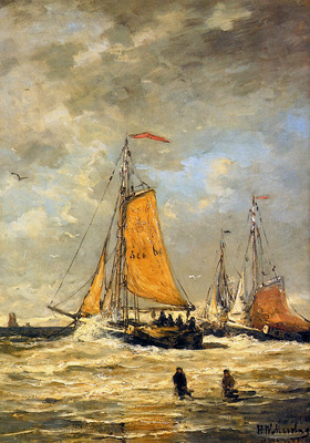 Mesdag Hendrik Willem Sailing Pinks At Scheveningen Sun