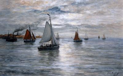 Mesdag Hendrik Willem Sailing ships at Scheveningse coast Su