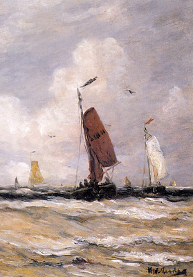 mesdag hendrik willem sea with fishingboats sun