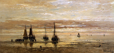 Mesdag Hendrik Willem Ships On The Beach Sun