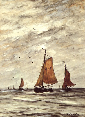 Mesdag Hendrik Willem Ships at sea Sun